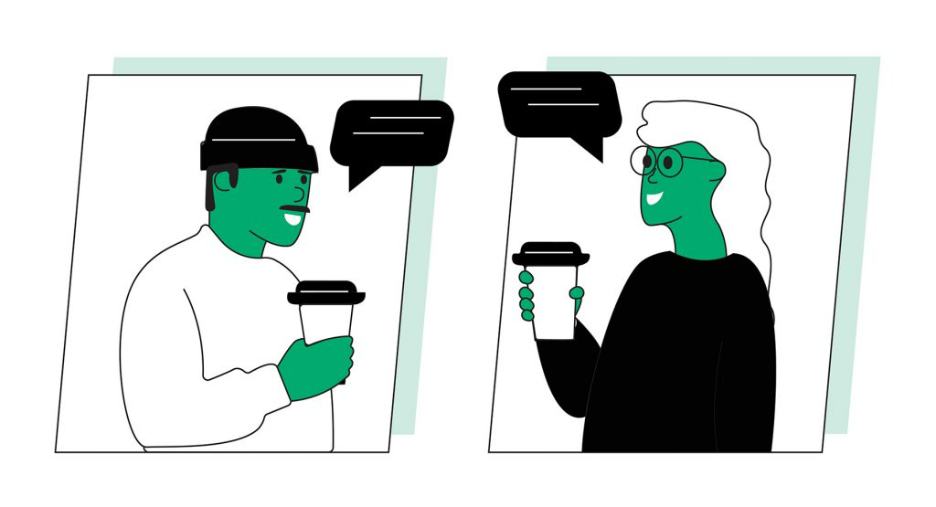 Illustration of a man and woman having a conversation