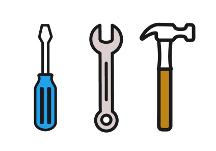 An illustration of a screwdriver, wrench, and hammer