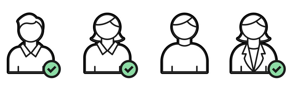 Illustration of four figures representing potential workshop participants. Three have checkboxes next to them while one does not.